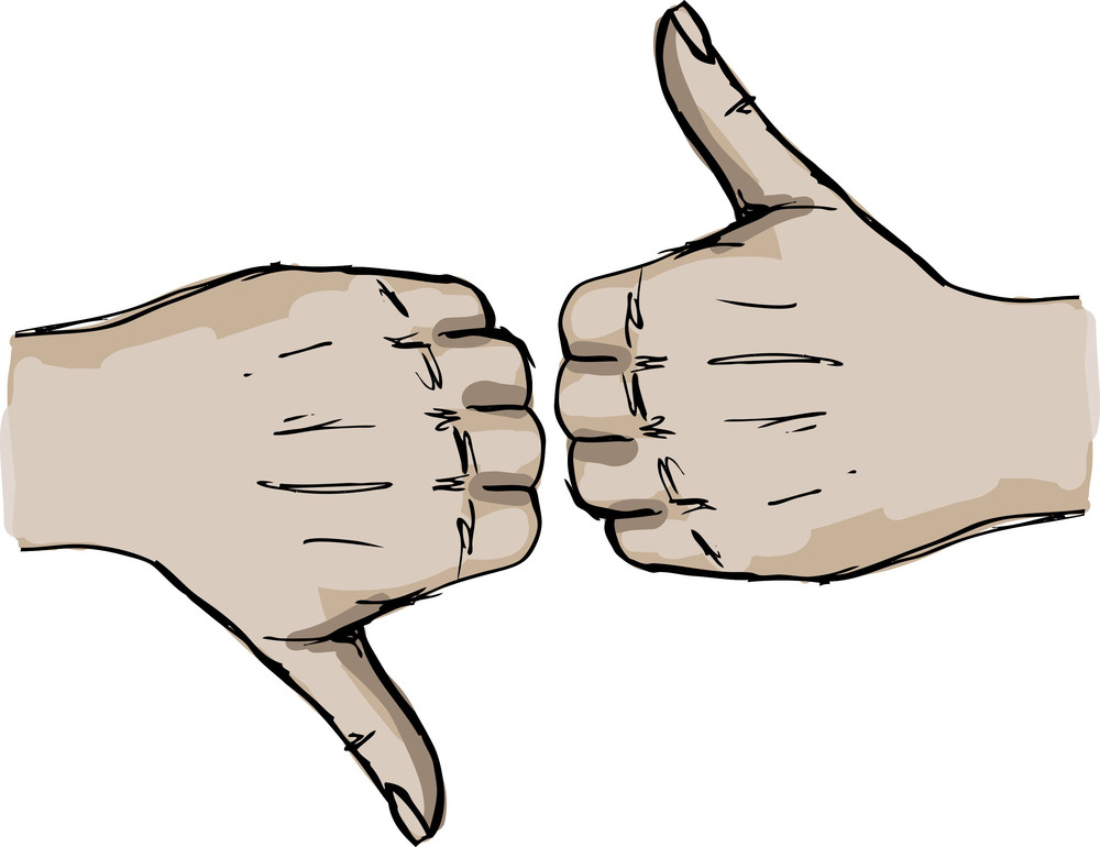 Sketch Of Thumb Up And Thumb Down Hand Signs. Vector Illustration