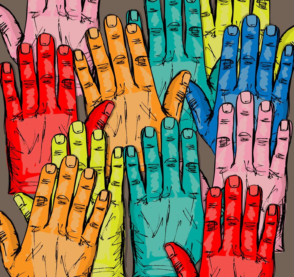 Sketch Of Volunteer Group Raising Hands . Vector Illustration