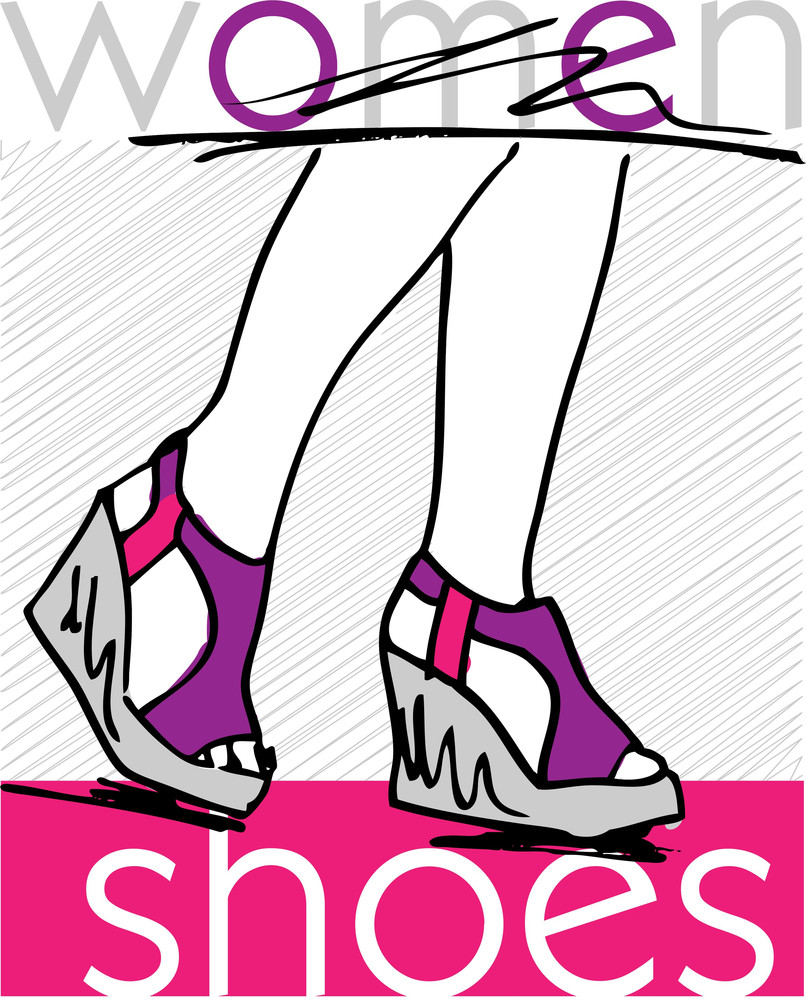 Sketch Of Woman Feet In Modern Summer Platform Sandals. Vector Illustration