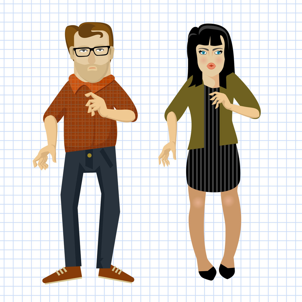 Sketched Girl And Guy. Vector Flat Design Elenments.