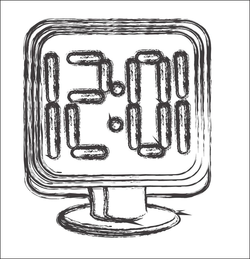Sketching Of Alarm Clock