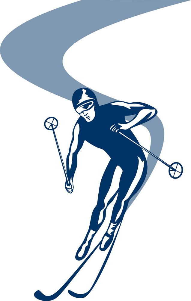 Skiing Slalom Downhill