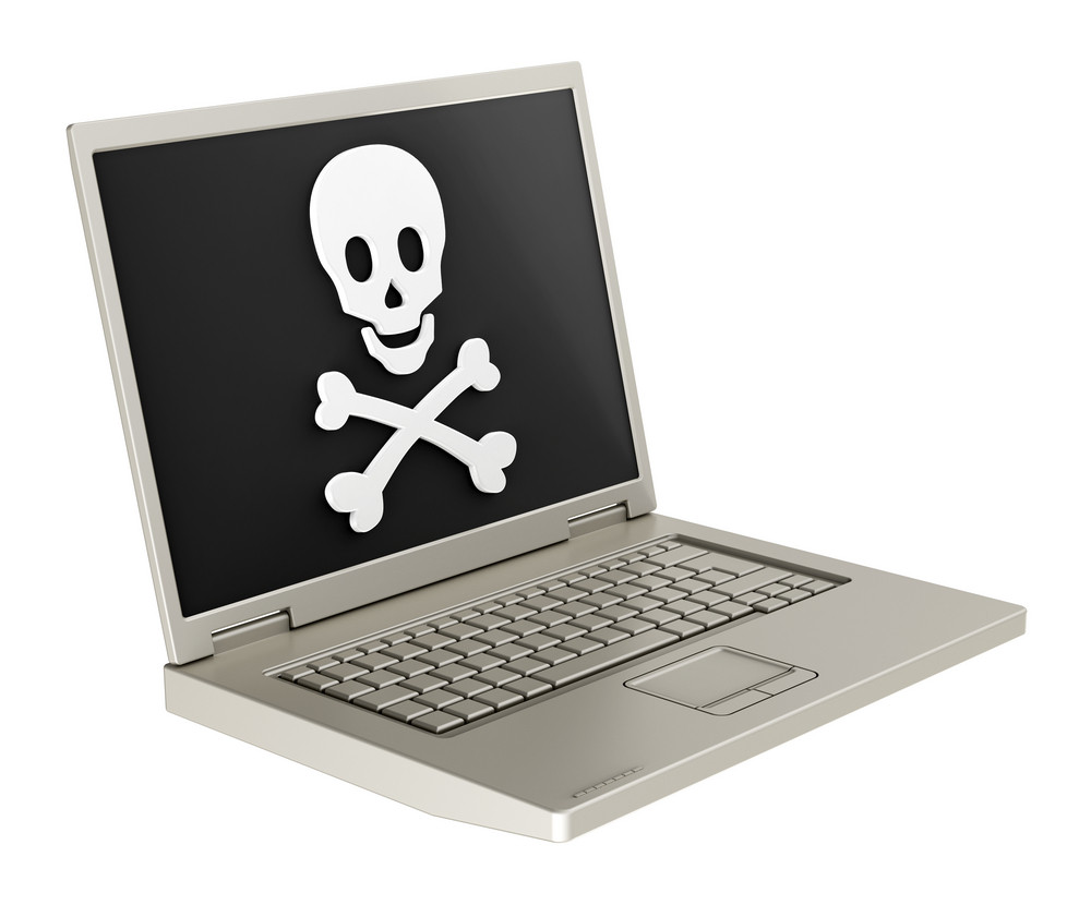 Skull And Crossbones On The Laptop Screen.