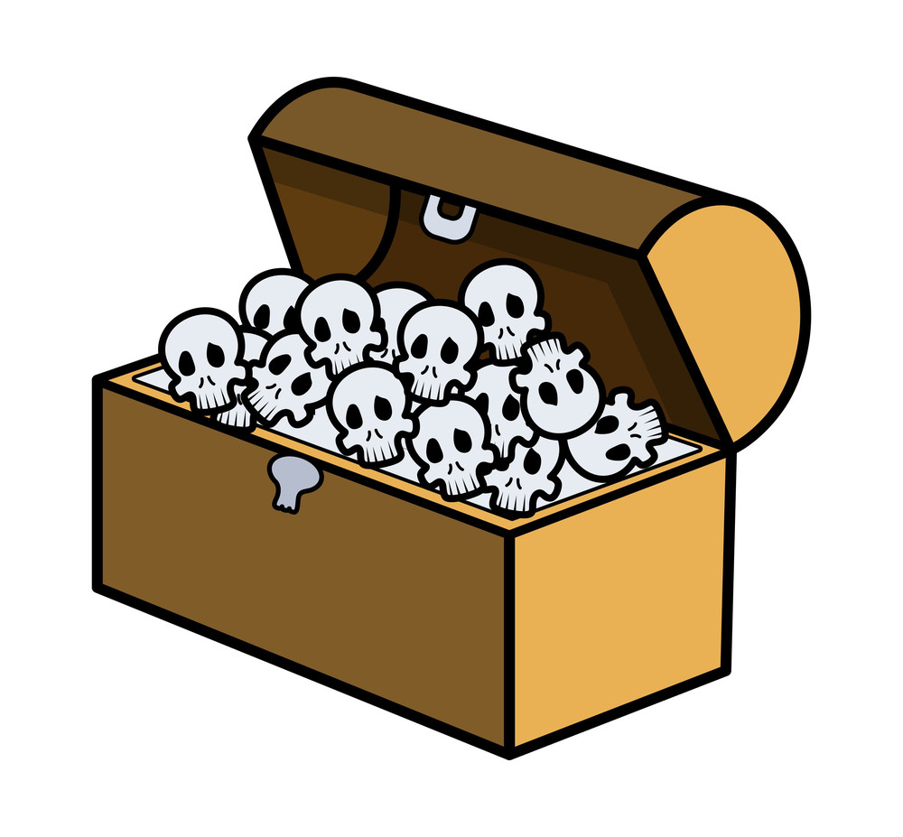 Skull Full Of Trunk - Cartoon Vector Illustration