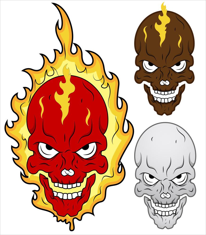Skull In Flames Vector Illustration