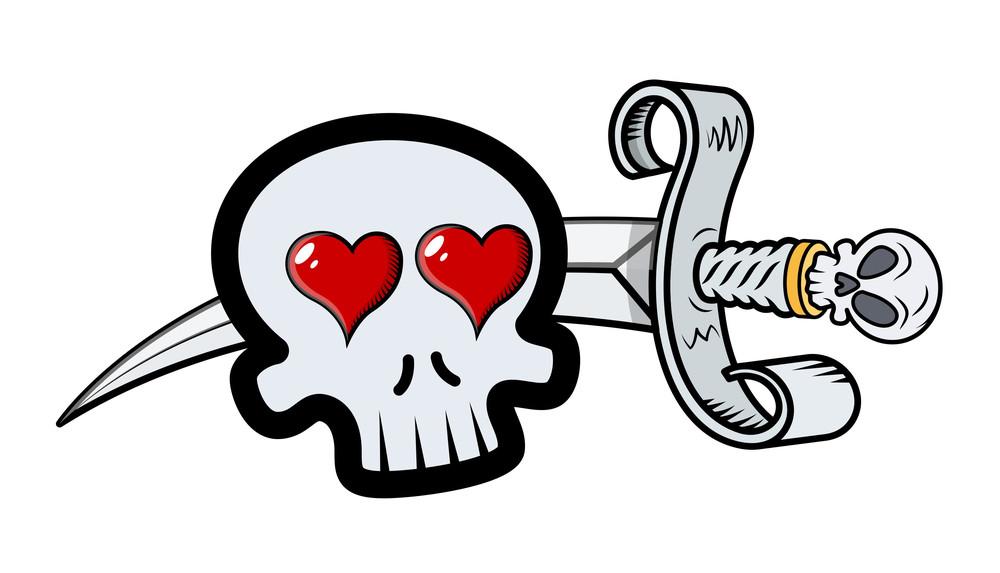 Skull In Love With Sword - Vector Cartoon Illustration