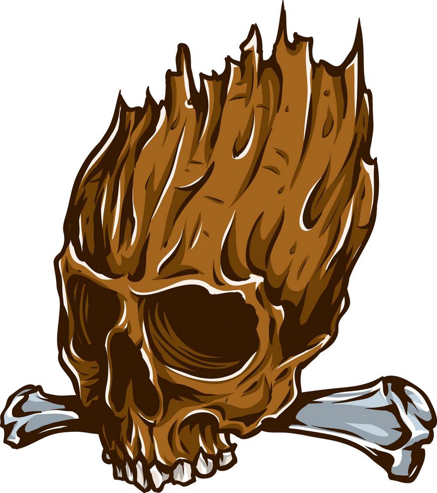 Skull Vector Element Bones And Flame