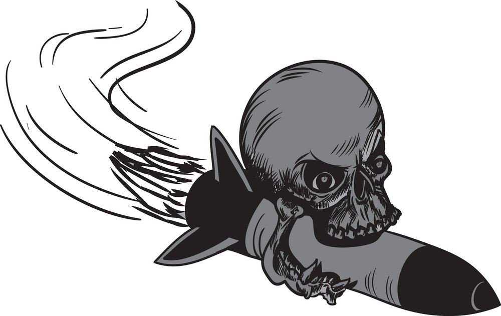 Skull Vector Element Rocket