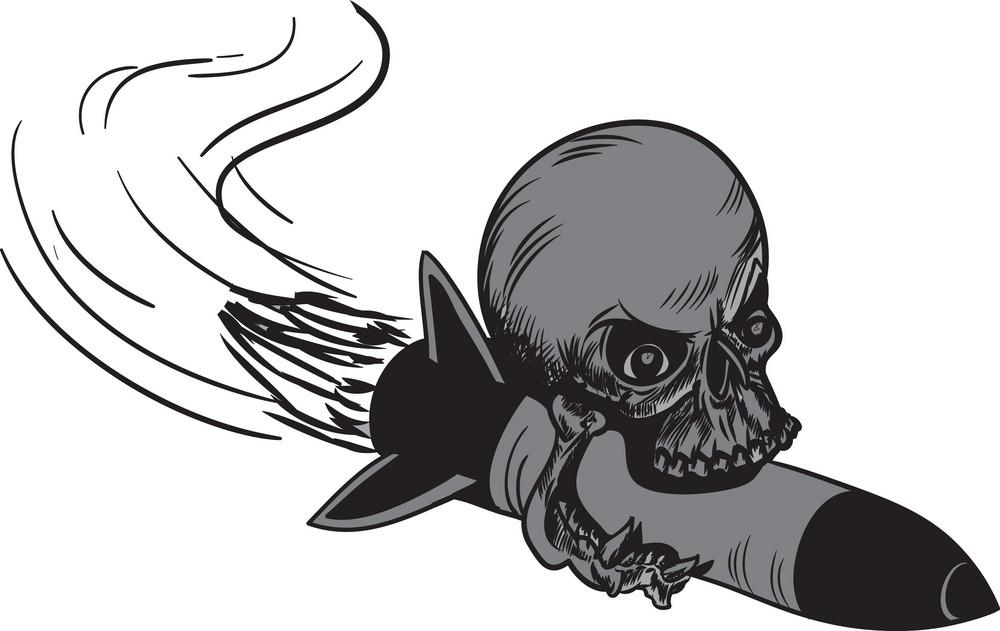 Skull Vector Element Rocket