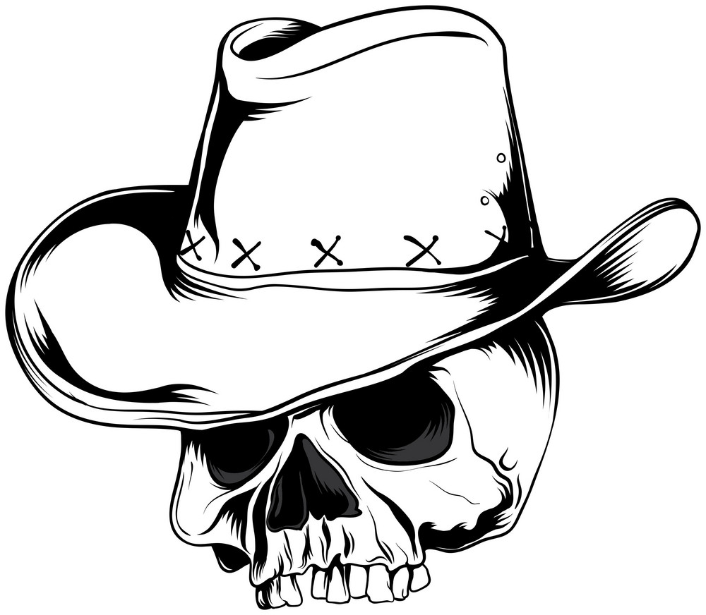 Skull Vector Element With Cowboy Hat