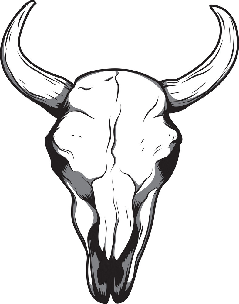 Skull Vector Element With Horns