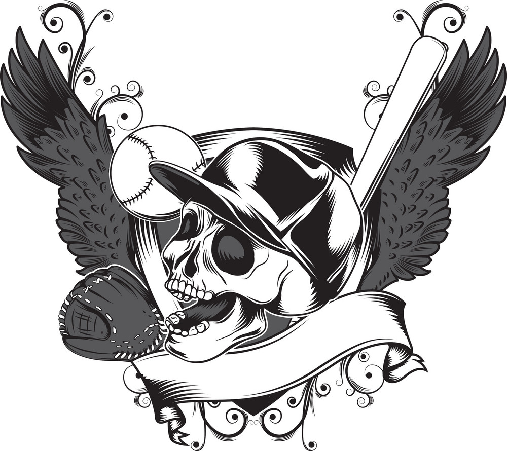 Skull Vector Element With Wings