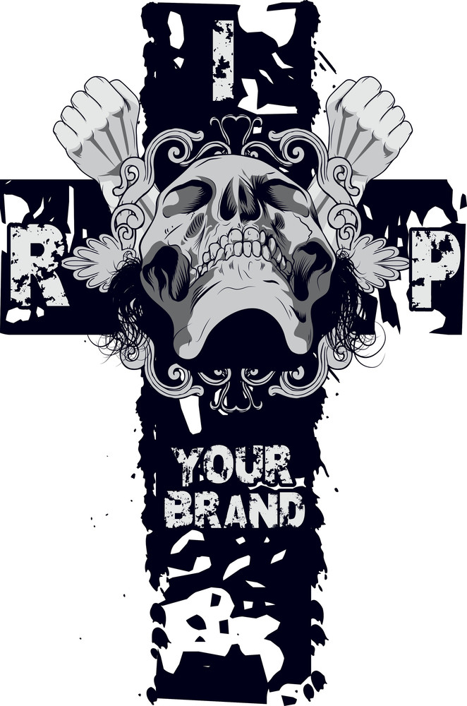 Skull With Cross Vector T-shirt Design