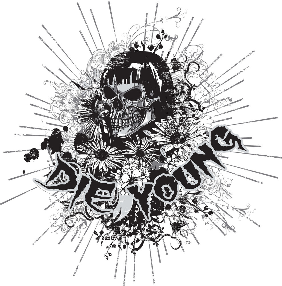 Skull With Floral Vector T-shirt Design