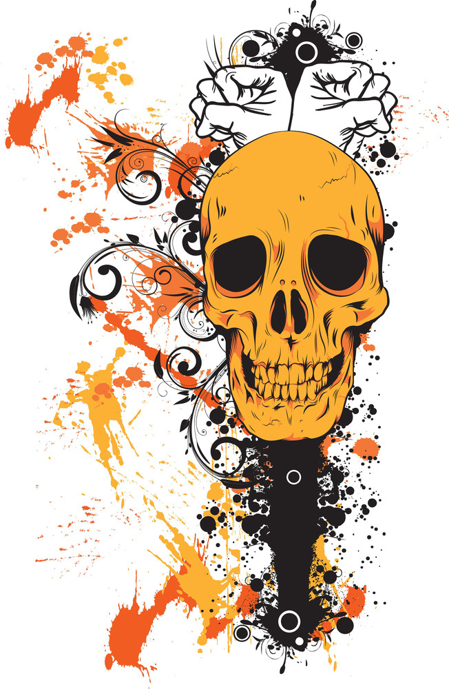 Skull With Grunge Vector T-shirt Design