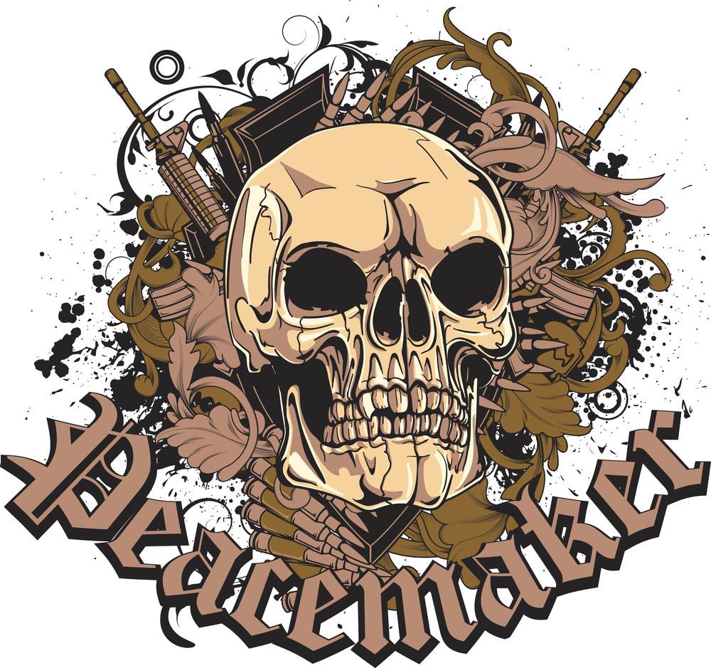 Skull With Grunge Vector T-shirt Design