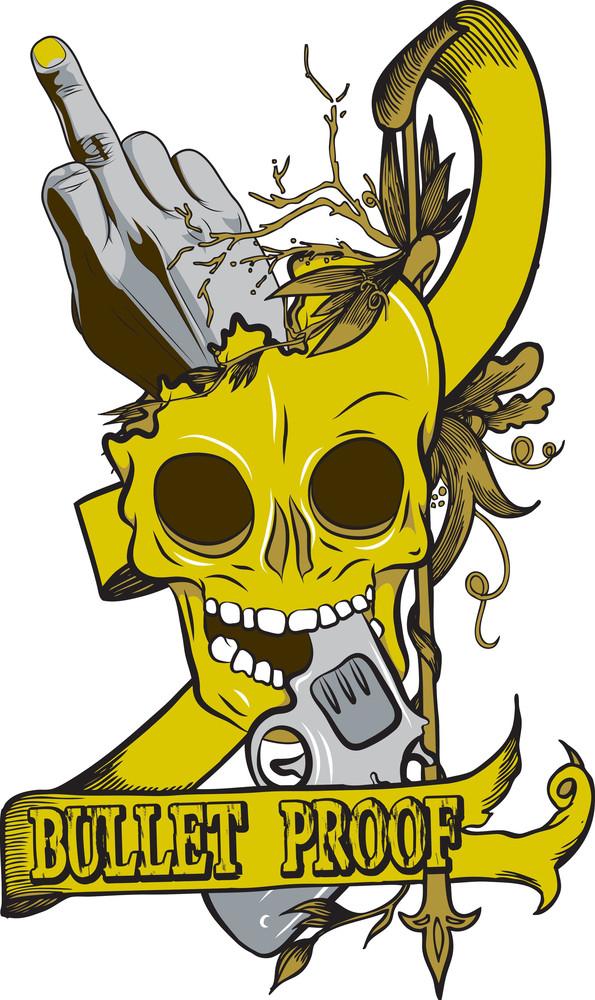 Skull With Gun Vector T-shirt Design