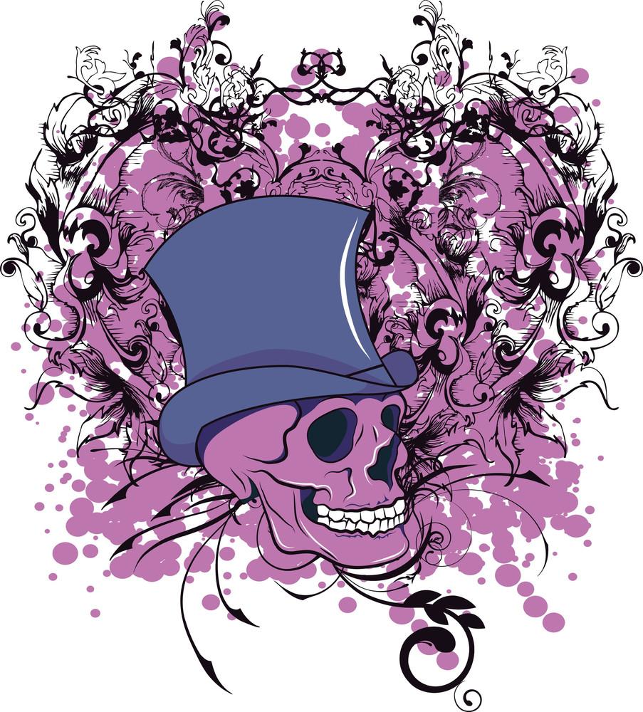 Skull With Hat Vector T-shirt Design