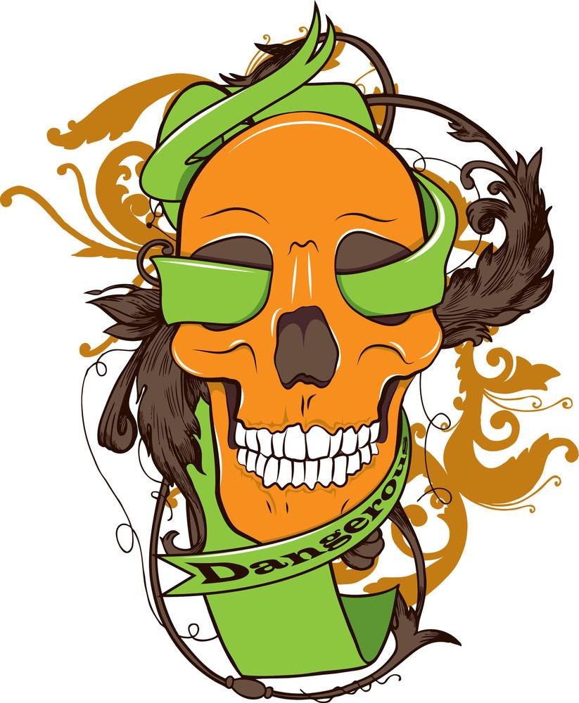 Skull With Ribbon Vector T-shirt Design