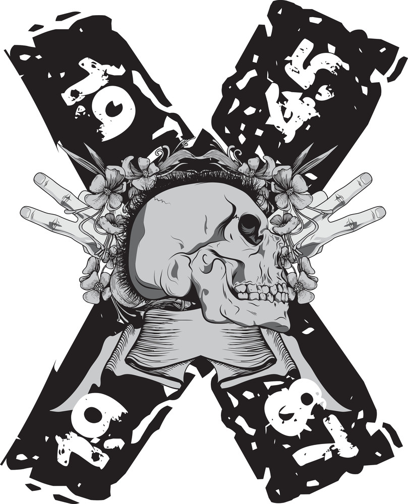 Skull With Scroll Vector T-shirt Design