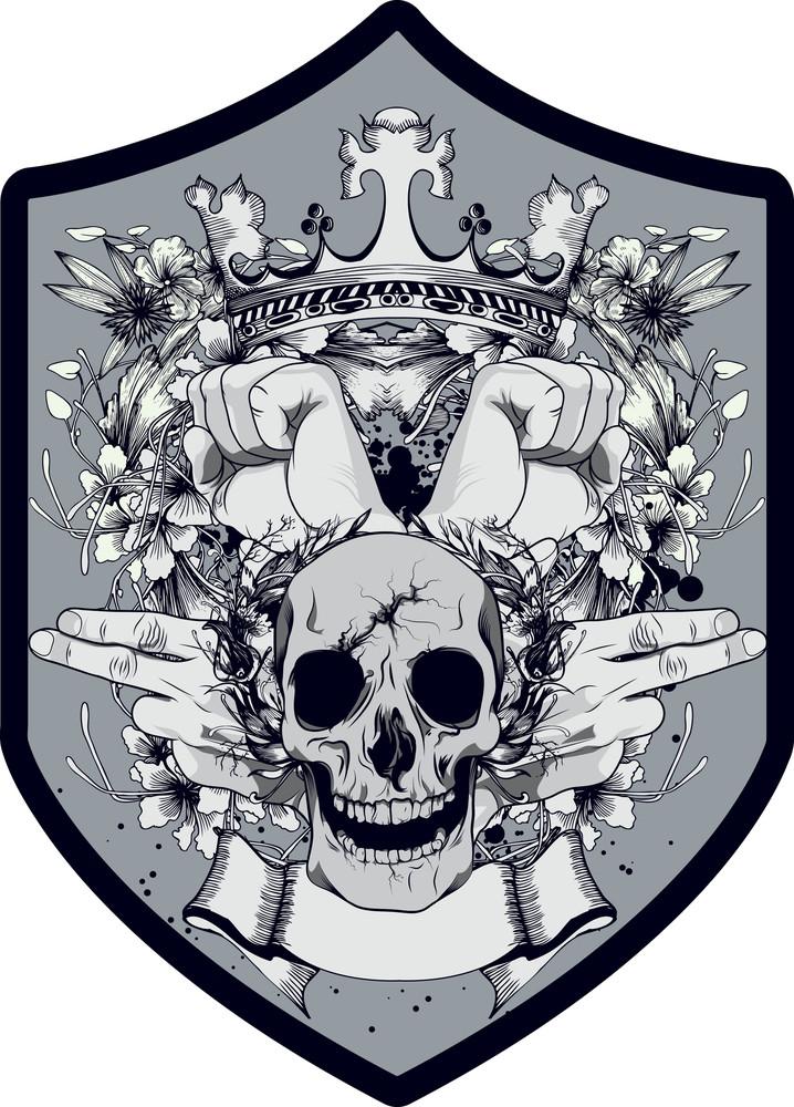 Skull With Shield Vector T-shirt Design