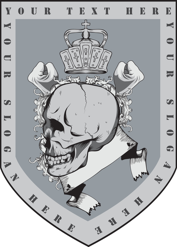 Skull With Shield Vector T-shirt Design