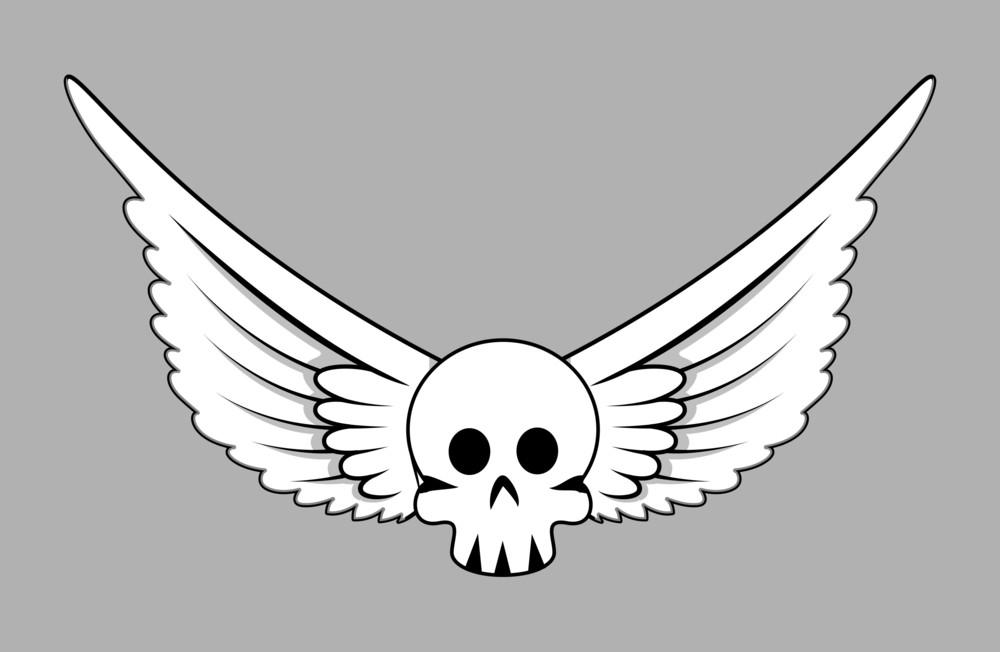 Skull With Wings - Vector Cartoon Illustration