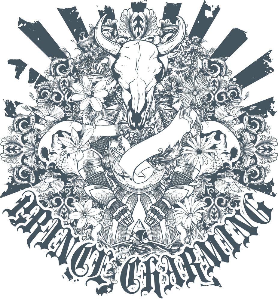 Skulls With Floral Vector T-shirt Design
