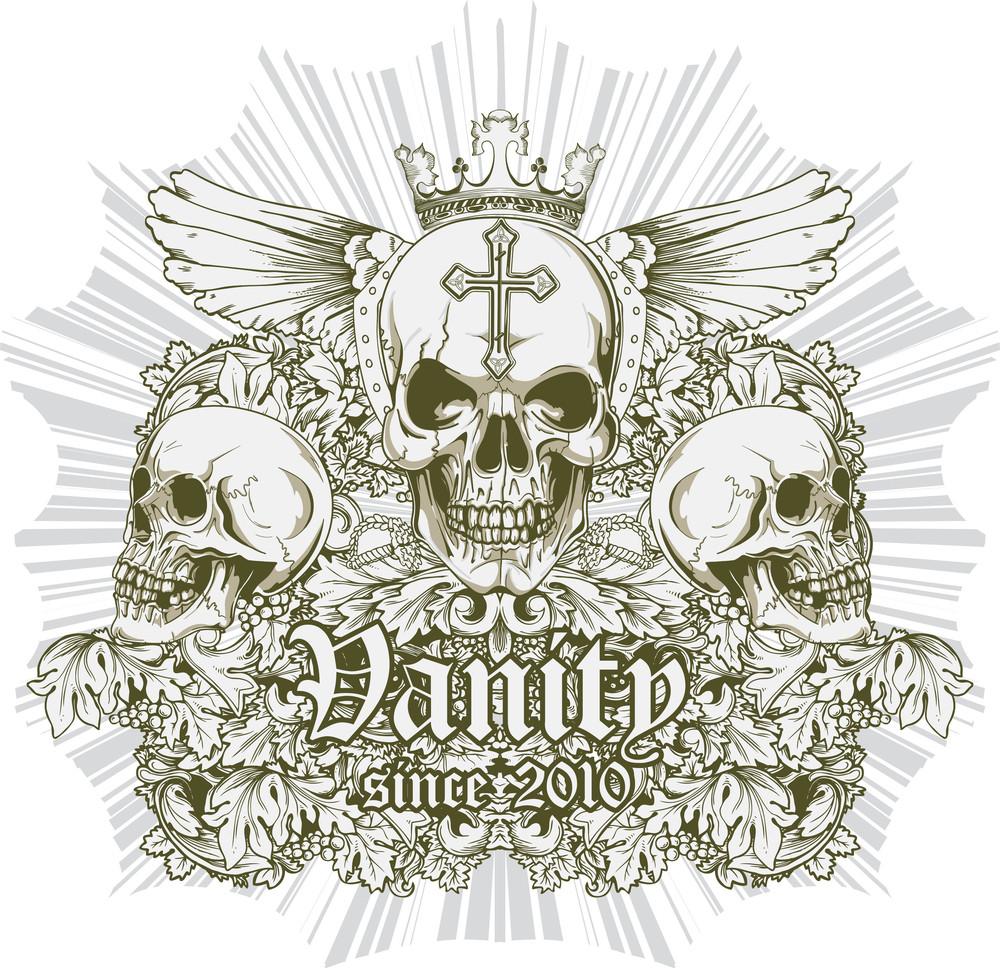Skulls With Wings Vector T-shirt Design