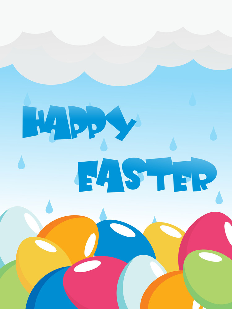 Sky Background With Colorful Eggs