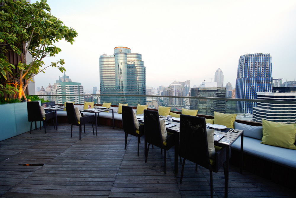 sky restaurant on rooftop building and beautiful view