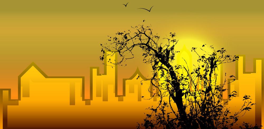 Skyline Tree Silhouette