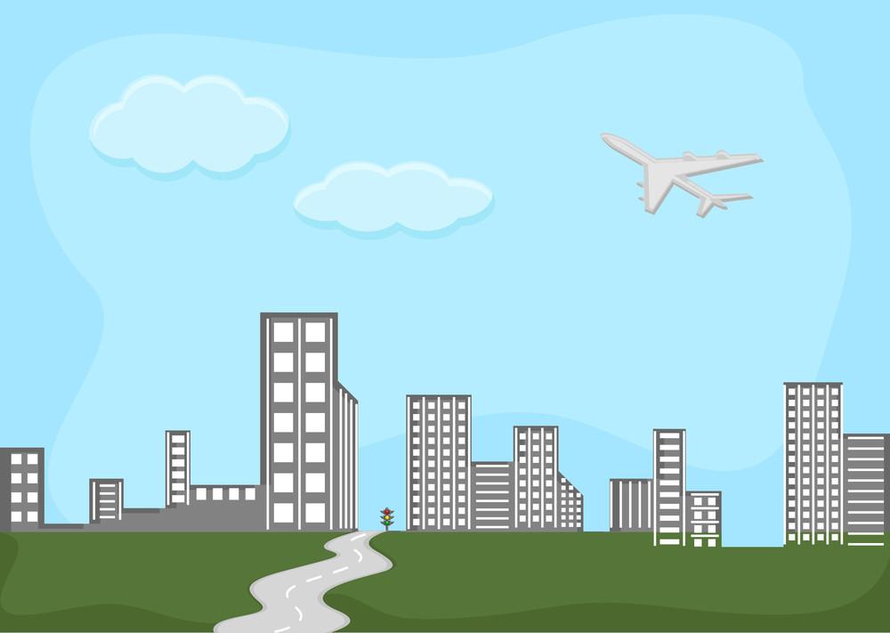 Skylines - City - Cartoon Background Vector