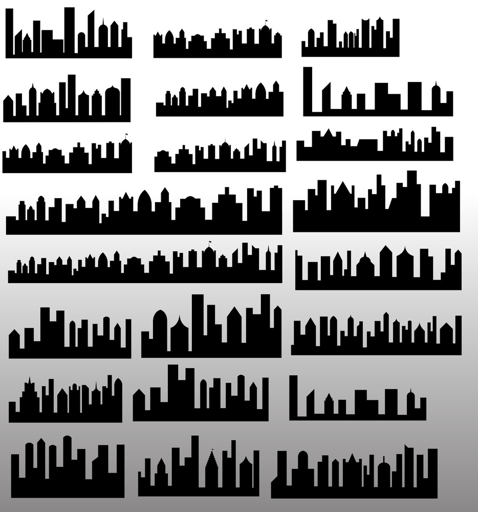 Skylines Silhouettes Shapes And Vectors