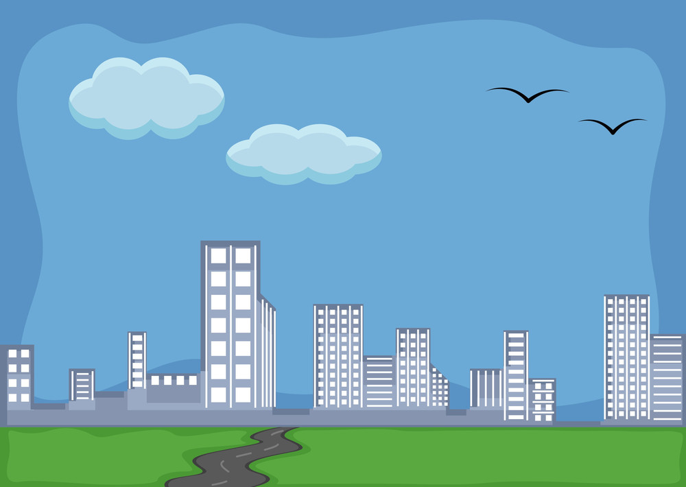 Skyscraper - Cartoon Background Vector