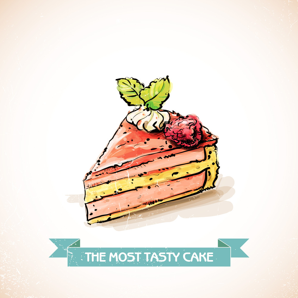 Slice Of Raspberry  Cake. Sketch + Watercolor Style. Vector Illustration.