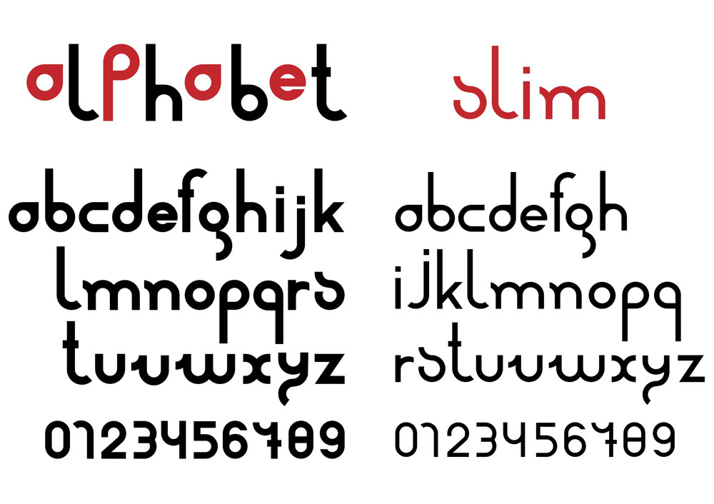 Slim Black Font And Numbers