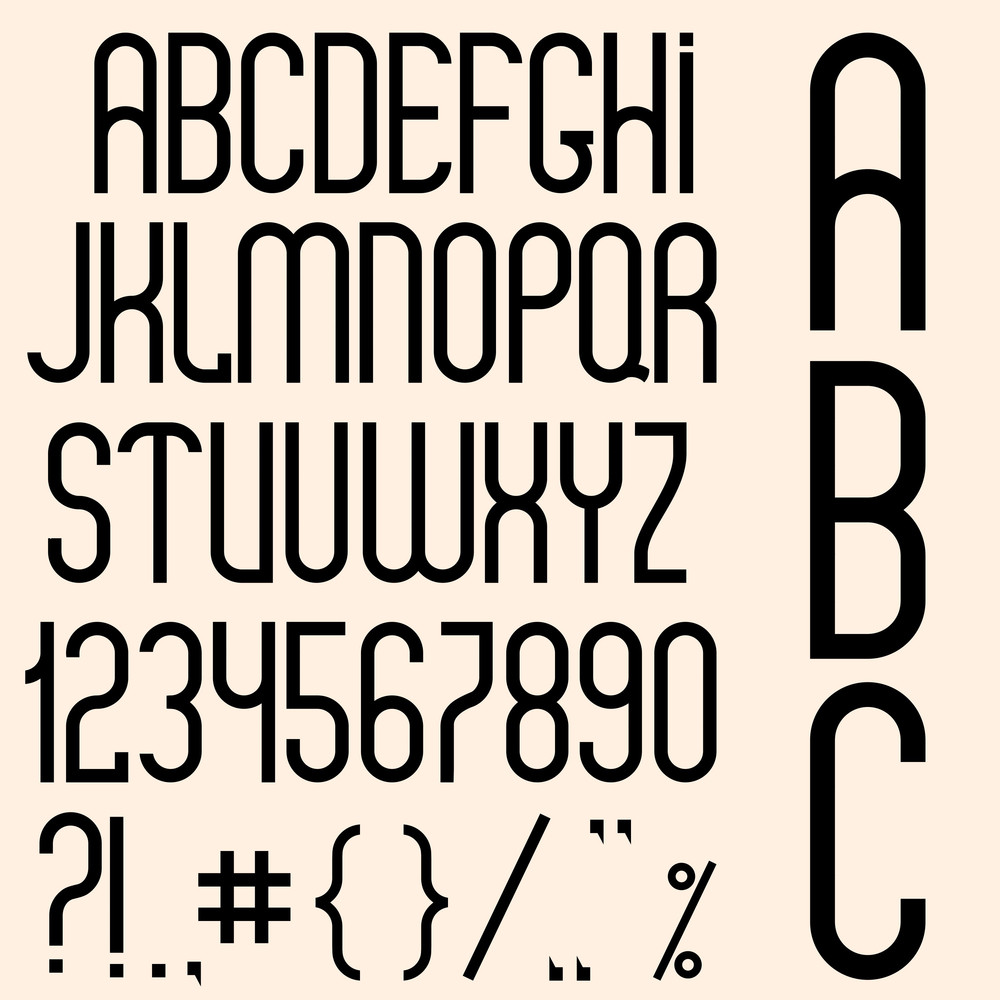 Slim Black Font, Numbers And Punctuation Marks