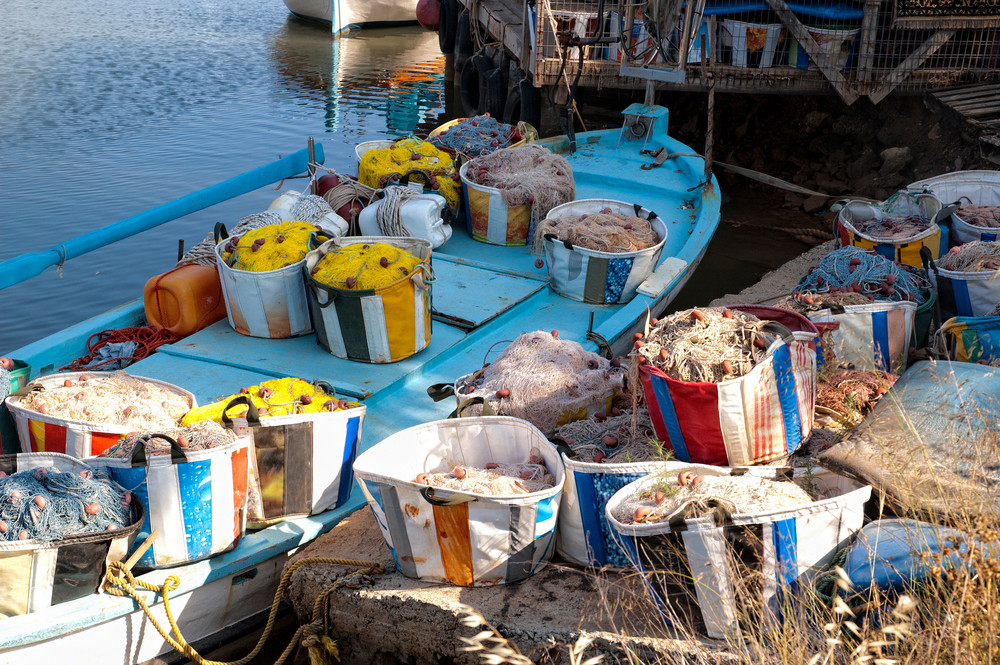 Small Boats With Fishing Tackle