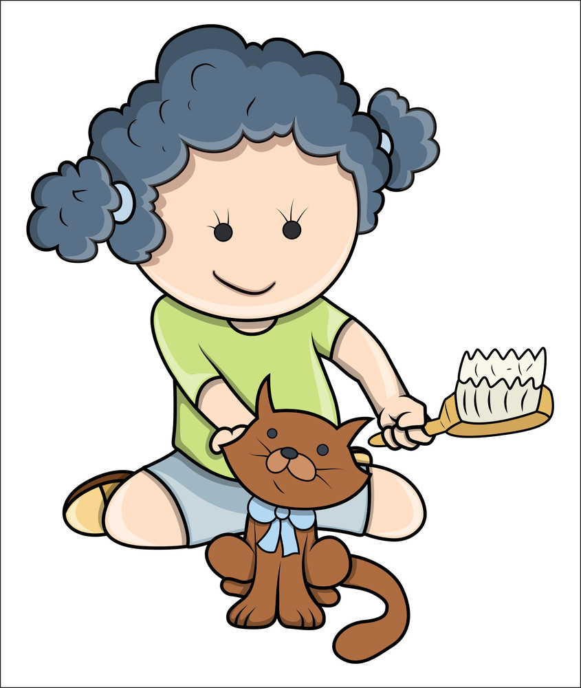 Small Girl Giving Bath To Cat - Vector Cartoon Illustration