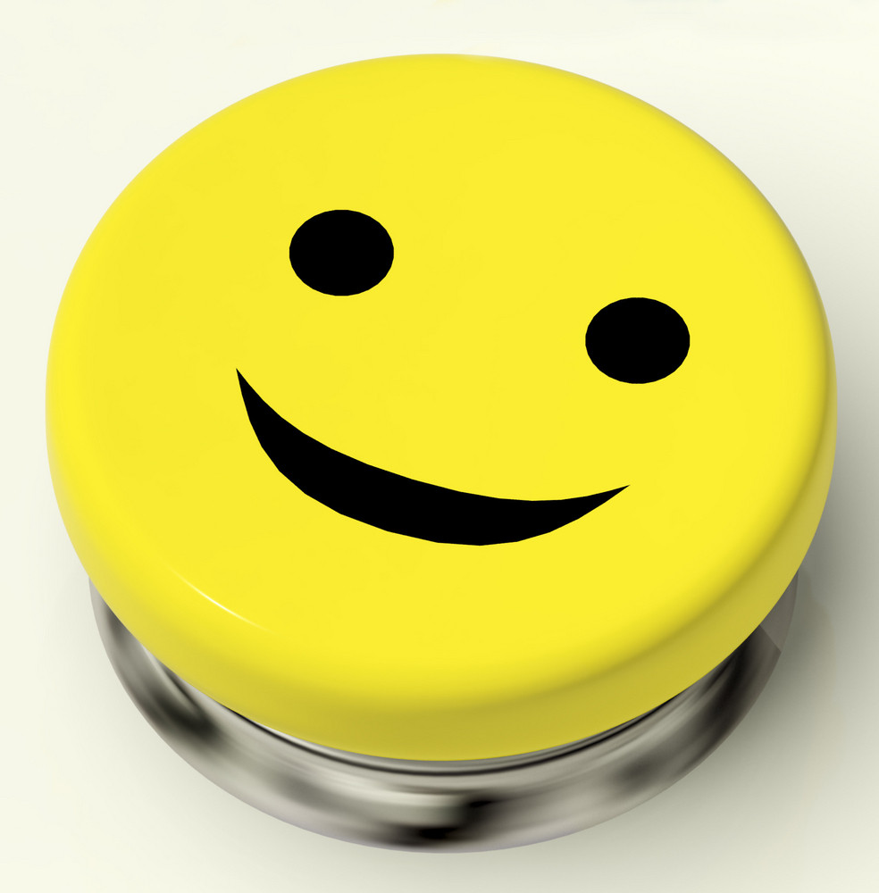 Smiley Button As Symbol For Cheer Or Happiness