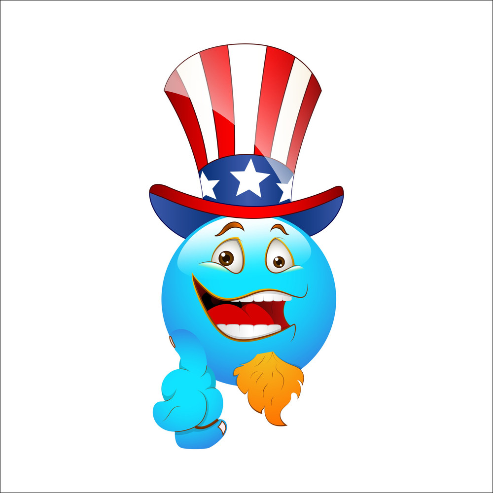 Smiley Emoticons Face Vector - 4th July