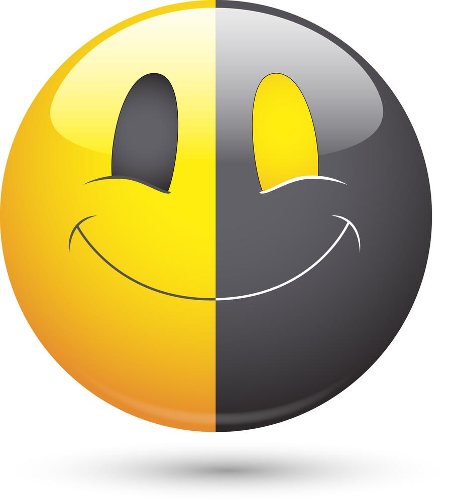 Smiley Vector Illustration - Half Black