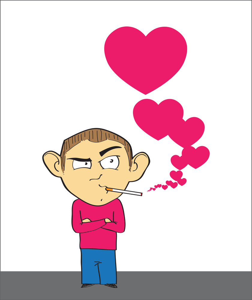 Smoking Man With Hearts. Vector Illustration.