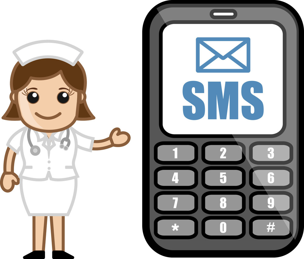 Sms Service - Medical Cartoon Vector Character