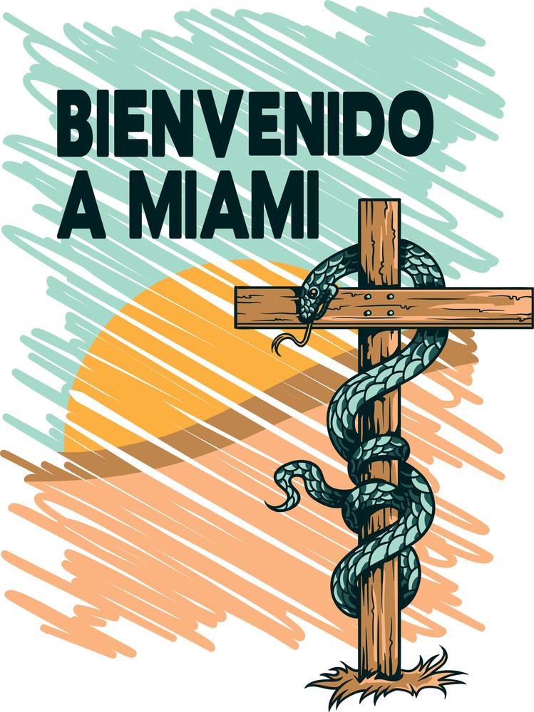 Snake On A Cross Vector T-shirt Design