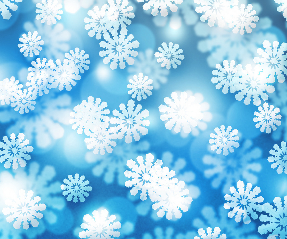 Snow Blue Winter Bokeh Background