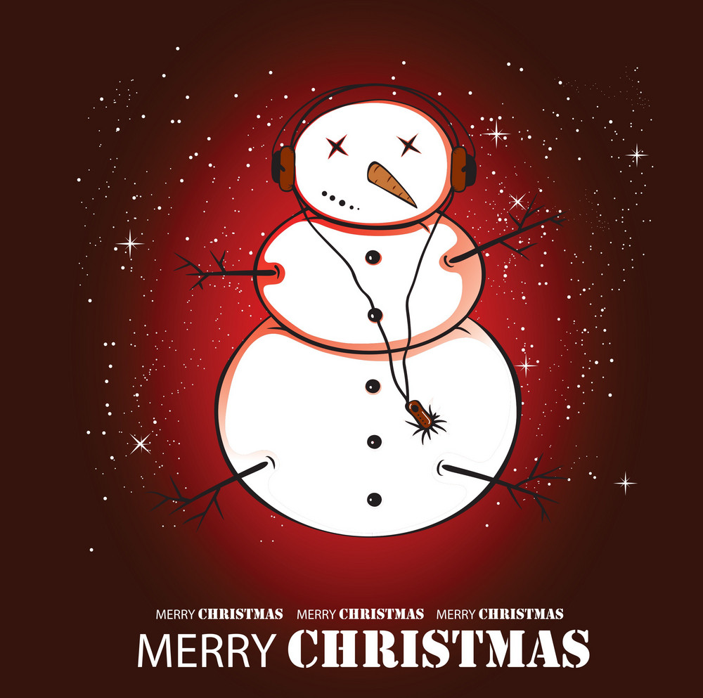Snow Man Listening To Music Greeting Card Vector
