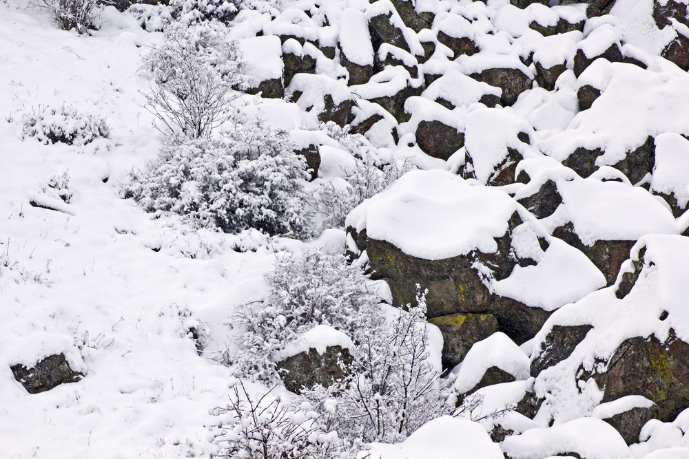 Snow On Rocks
