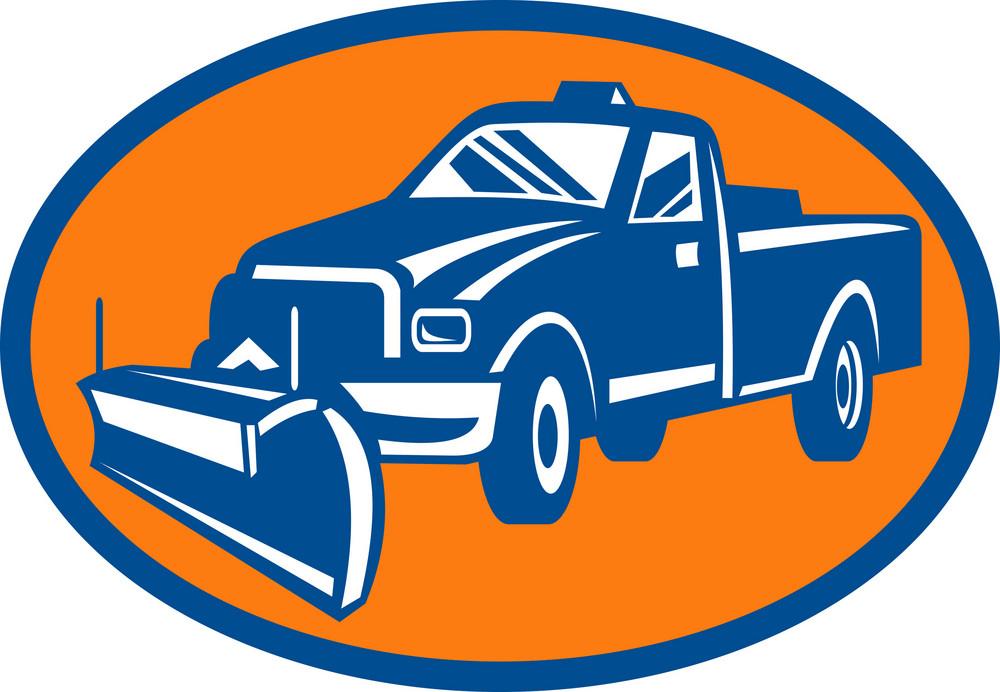 Snow Plow Pick-up Truck Inside Oval